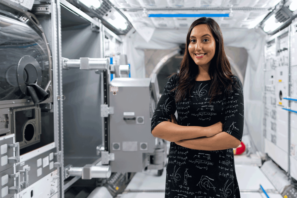 Female engineer in space tunnel